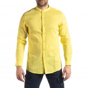 Cămașă de bărbați din in și bumbac în galben  2