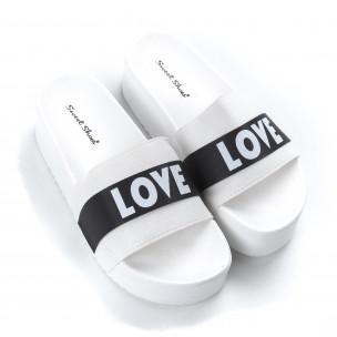 Papuci de dama albi LOVE cu platformă 2