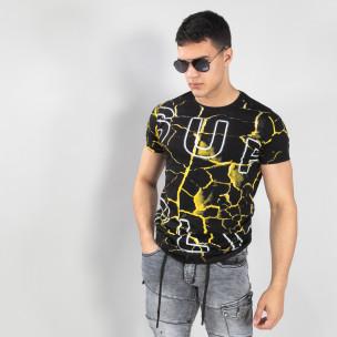 Tricou de bărbați Supple în negru și galben