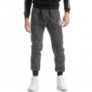 Pantaloni sport groși în melanj negru pentru bărbați