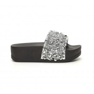 Papuci de dama argintii cu platformă