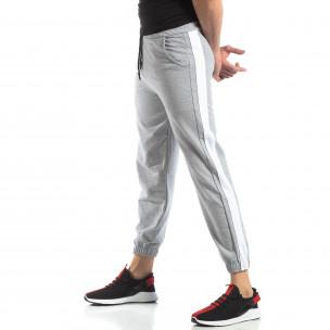 Pantaloni de trening pentru bărbați în gri cu bandă