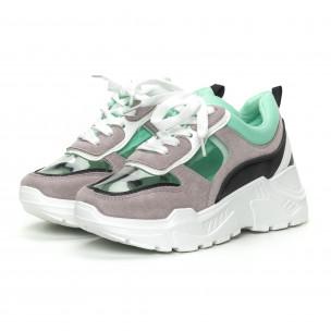 Pantofi sport de dama verzi cu părți transparente 2