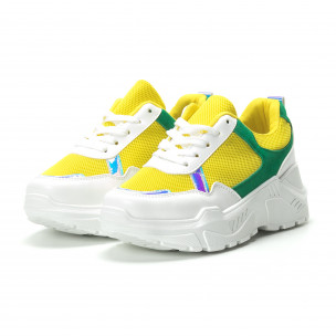 Pantofi sport pentru dama în alb-galben-verde cu talpă groasă  2