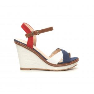 Sandale de dama în albastru, alb și roșu