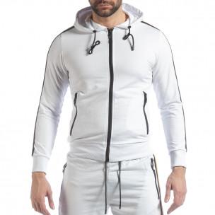 Hanorac pentru bărbați alb 5 striped  2