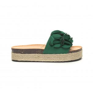 Papuci de dama verzi talpă căptuşită cu iută