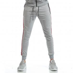 Pantaloni de trening gri cu benzi pentru bărbați  2