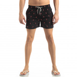 Costum de baie de bărbați negru motiv Flamingo