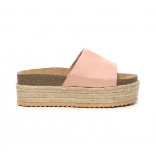 Papuci de dama roz ortopedici cu platformă