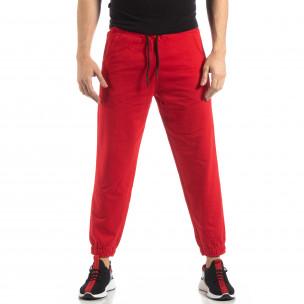 Pantaloni de trening pentru bărbați în roșu cu bandă  2