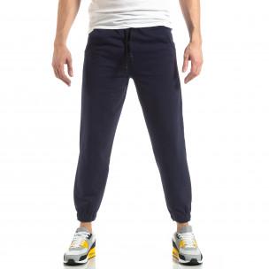 Pantaloni de trening pentru bărbați în albastru cu bandă  2