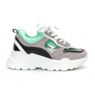 Pantofi sport de dama verzi cu părți transparente