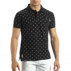 Polo shirt negru de bărbați motiv Clover