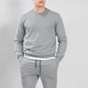 Bluză de bărbați Basic gri din bumbac