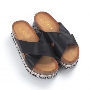 Papuci de dama negri cu barete încrucișate 2