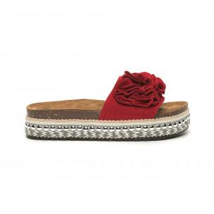 Papuci de dama roșii cu flori și platformă