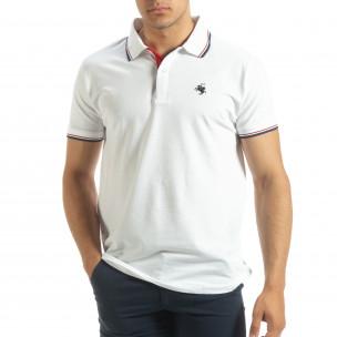 Tricou polo shirt alb pentru bărbați