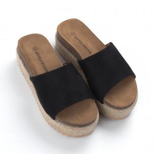 Papuci de dama negri ortopedici cu platformă 2