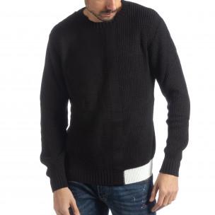Pulover negru tricotat pentru bărbați