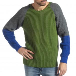 Pulover pentru bărbați în verde, gri și albastru