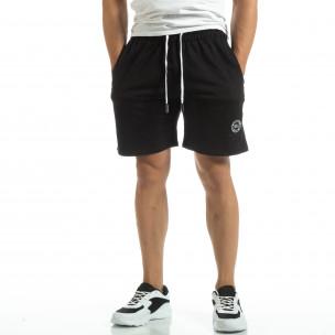 Pantaloni sport scurți de bărbați din tricot negru