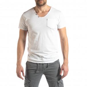 Tricou alb de bărbați stil Vintage