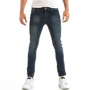 Slim Jeans în albastru cu efect șifonat