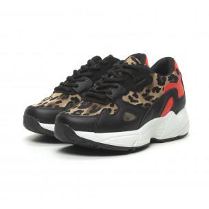 Pantofi sport de dama roșu și leopard cu talpă groasă FM 2
