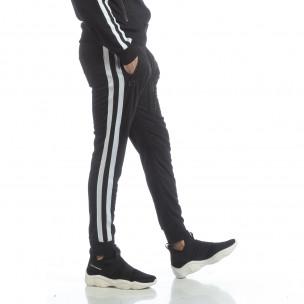 Pantaloni sport de bărbați Biker negri cu benzi albe