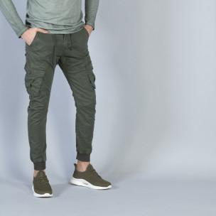 Pantaloni cargo Jogger în verde militar pentru bărbați