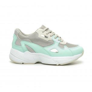 Pantofi sport de dama bej și verde cu talpă groasă FM