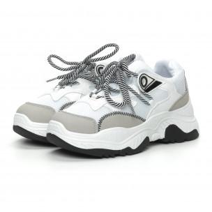 Pantofi sport de dama în alb și gri 2