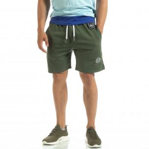Pantaloni sport scurți de bărbați din tricot verde