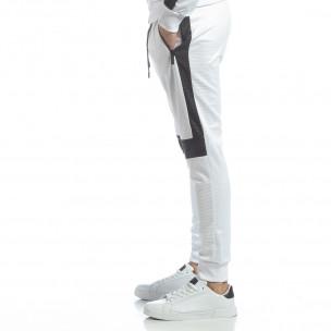 Pantaloni sport de bărbați albi cu negru