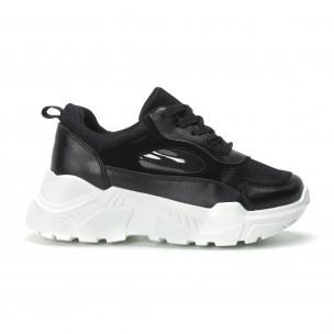 Pantofi sport negri cu talpă albă pentru dama 2