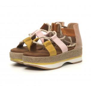 Papuci de dama design marin pe galben și roz 2