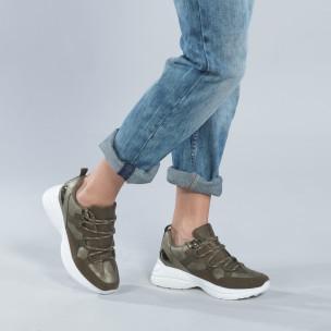 Pantofi sport de dama în verde militar
