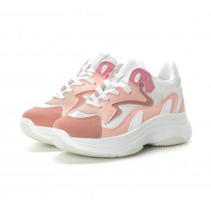 Pantofi sport de dama roz cu talpă înaltă 2