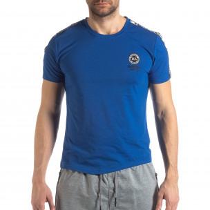 Tricou de bărbați albastru cu logo și bandă 2
