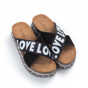 Papuci de dama negri cu platformă LOVE  2