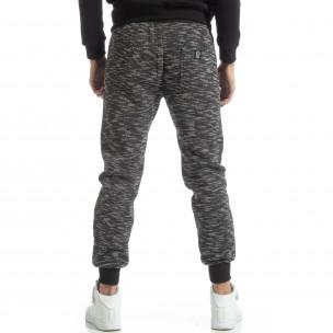Pantaloni sport groși în melanj negru pentru bărbați  2