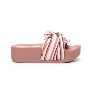 Papuci de dama din satin roz cu platformă