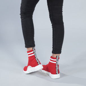 Pantofi sport de dama roșii tip șosetă cu accente
