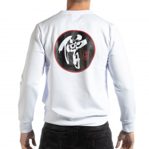 Bluză pentru bărbați albă cu motiv oriental  2