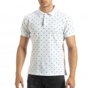Polo shirt alb de bărbați motiv Clover