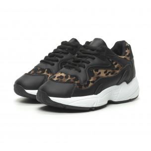Pantofi sport de dama negru și leopard cu talpă înaltă FM 2