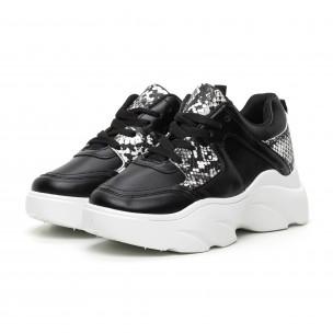 Pantofi sport de dama negri cu talpă voluminoasă LA Donna Moda 2