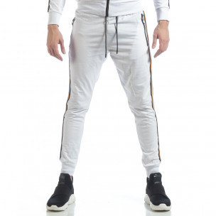 Pantaloni de trening 5 striped albi pentru bărbați   2