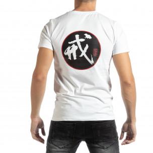 Tricou alb cu motiv oriental pentru bărbați  2